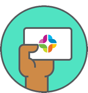 Hand holding card icon