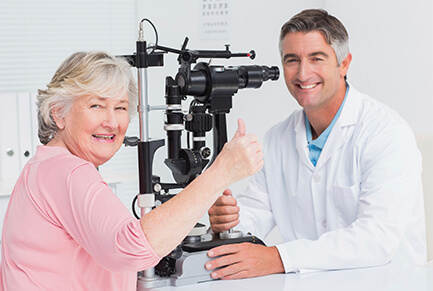 Woman getting eye exam